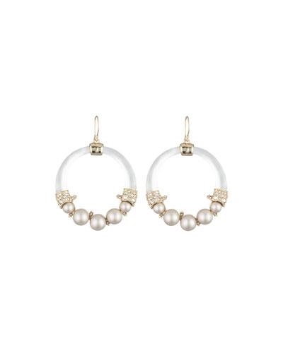 Crystal Encrusted Pearly Hoop Earrings