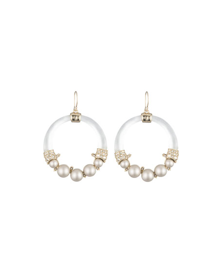 Alexis Bittar Crystal Encrusted Pearly Hoop Earrings