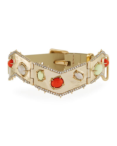 Stone Cluster Buckle Leather Bracelet