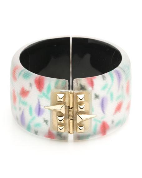 Tulip-Print Large Studded Hinge Bracelet