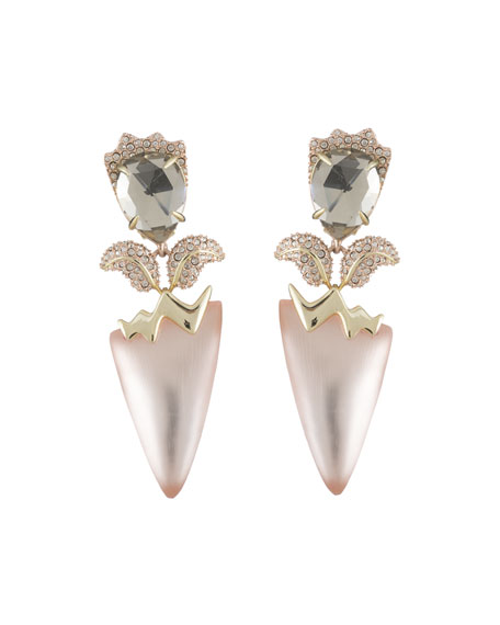 Crystal Encrusted Tulip Clip-On Earrings