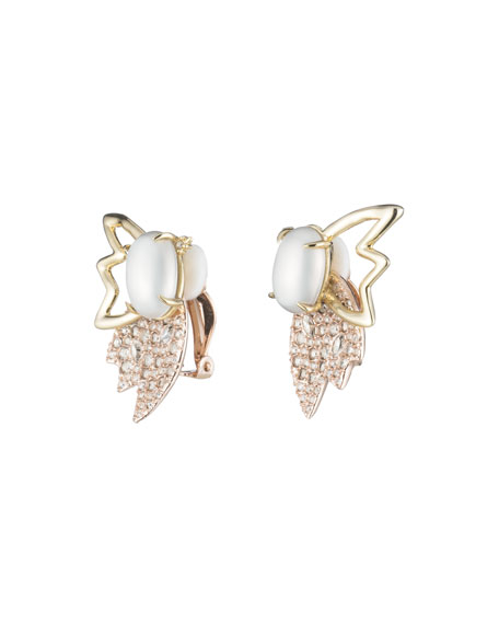 Crystal Encrusted Petal Clip-On Earrings