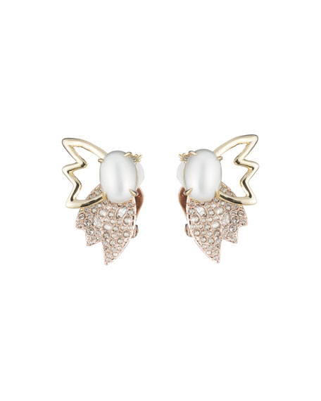 Alexis Bittar Crystal Encrusted Petal Clip-On Earrings