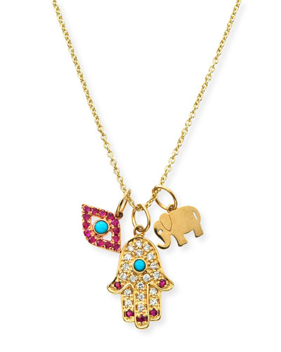 14k Evil Eye, Hamsa & Elephant Trio Pendant Necklace