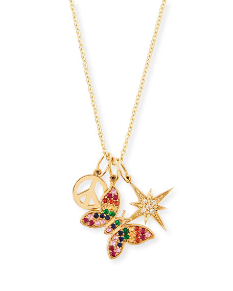 SYDNEY EVAN 14K Peace, Butterfly & Starburst Trio Pendant Necklace in Gold