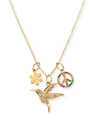 14k Daisy, Peace & Hummingbird Trio Pendant Necklace