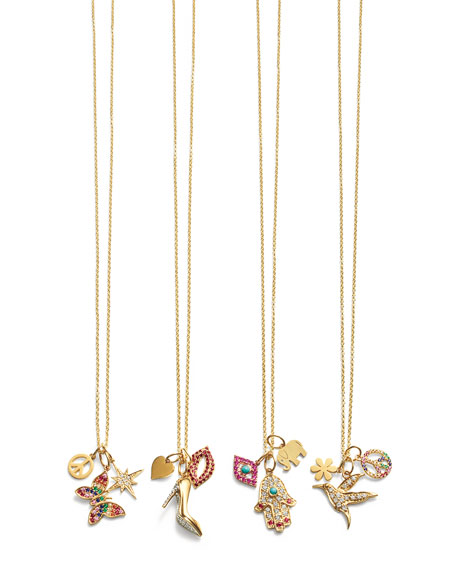 14k Heart, Stiletto & Lips Trio Pendant Necklace