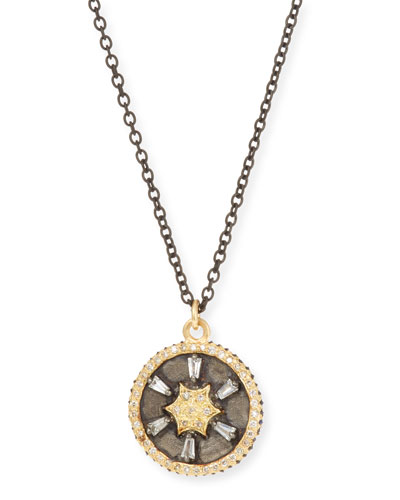 Old World 18k Gold/Silver Star Pendant Necklace w/ Diamonds