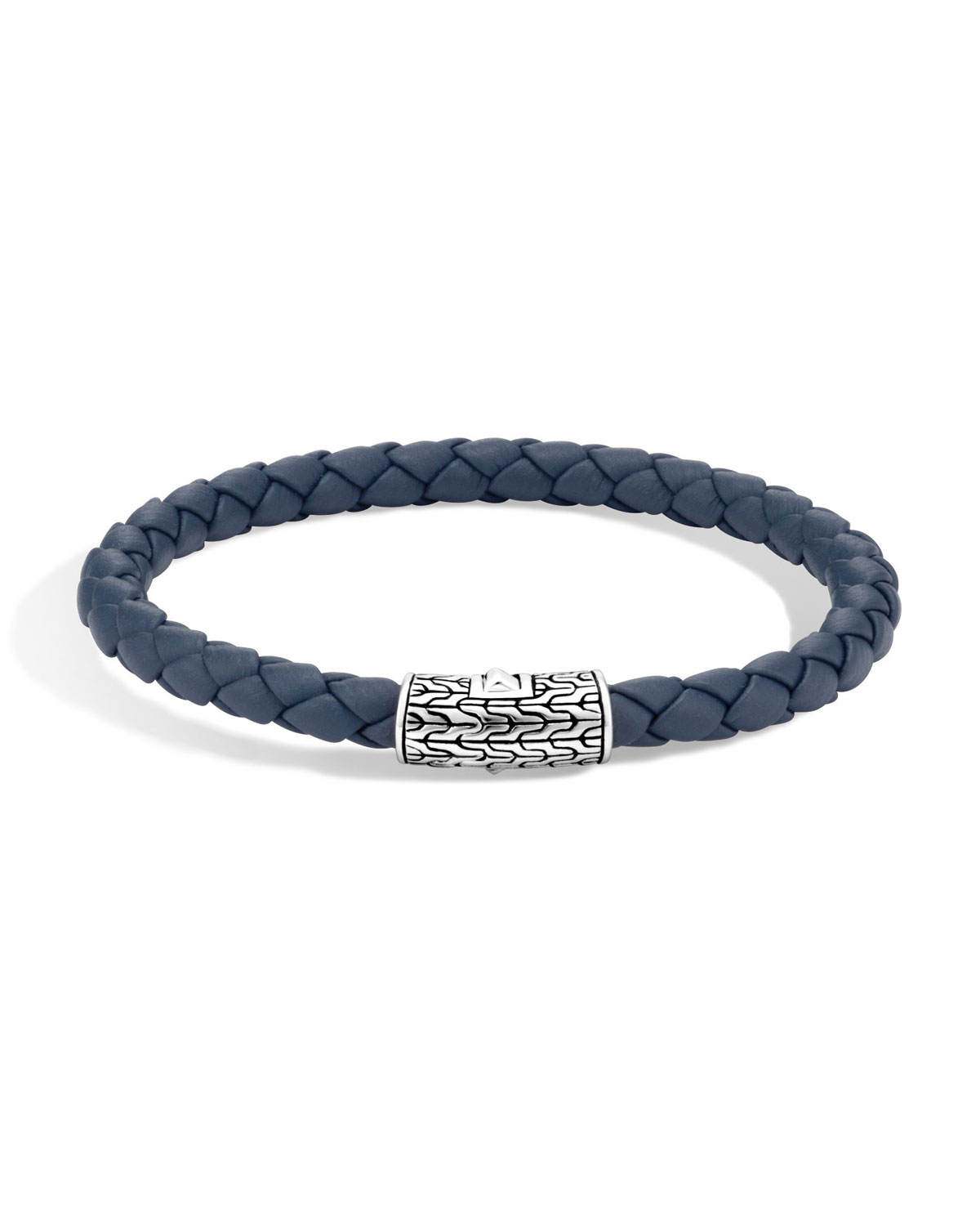Clic Chain Silver Round Woven Bracelet On Blue Leather Cord