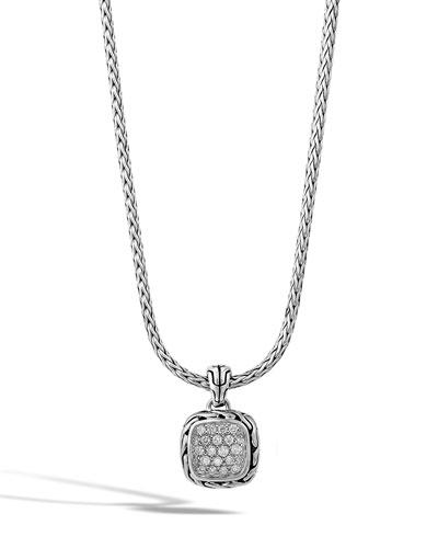 Classic Chain Silver Diamond Pendant Necklace