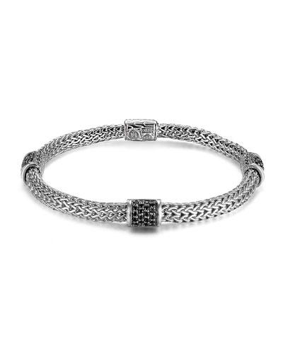 Classic Chain 4-Station Black Sapphire Bracelet