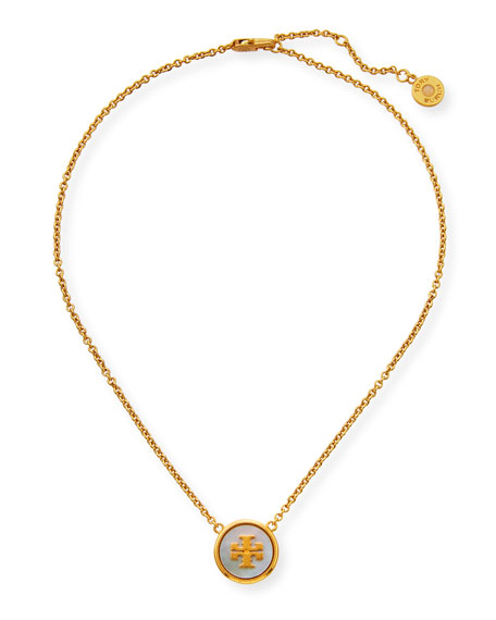 Tory Burch Semiprecious Pendant Necklace, Mother-of-Pearl