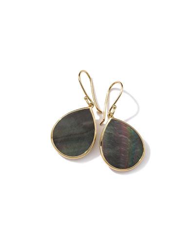 18k Polished Rock Candy Mini Teardrop Earrings, Black Shell