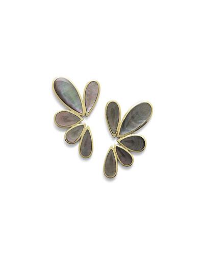 18K Polished Rock Candy Multi-Pear Earrings in Black Shell