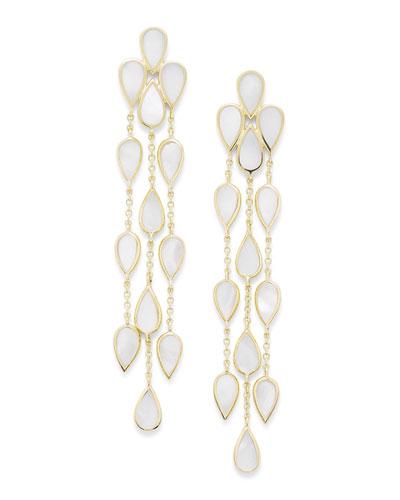 18k Polished Rock Candy Multi-Pear Mother-of-Pearl Dangle Earrings