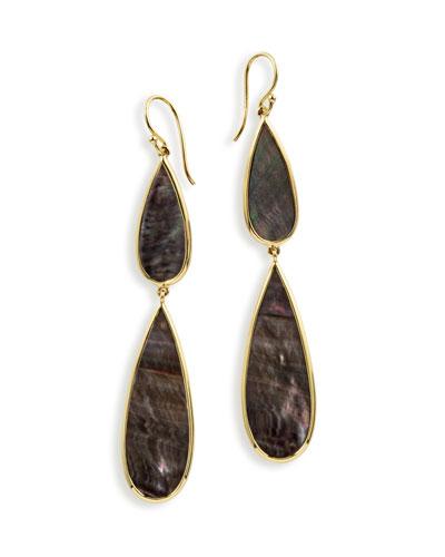 18K Polished Rock Candy Double-Drop Earrings in Black Shell
