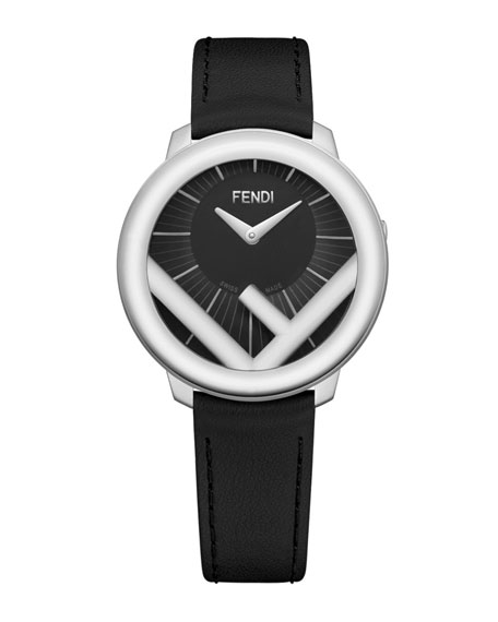 36mm Run Away Watch with Leather Strap, Black/Steel
