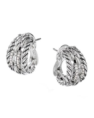 Wellesley Link Huggie Hoop Earrings w/ Diamonds