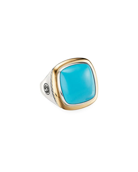 DAVID YURMAN Albion Statement Ring With 18K Yellow Gold & Reconstituted Turquoise
