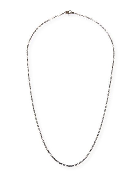 Rhodium-Plated Sterling Silver Chain Necklace with Diamond Clasp, 36""