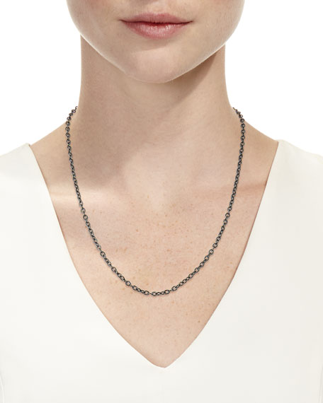 Rhodium-Plated Sterling Silver Chain Necklace with Spinel Clasp, 24""