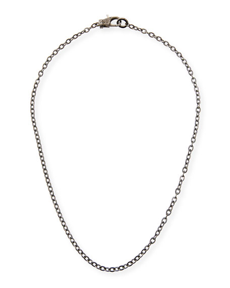 Rhodium-Plated Sterling Silver Chain Necklace with Diamond Clasp, 18""