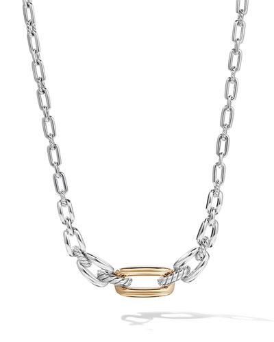 Wellesley Short Silver Link Necklace w/ 18k Gold