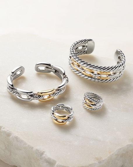 Wellesley Medium Silver Link Ring w/ 18k Gold