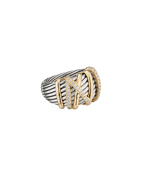 DAVID YURMAN Helena Statement Ring With 18K Yellow Gold & Diamonds in Silver Gold