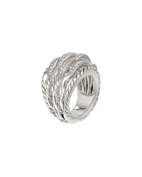 Image 3 of 4: David Yurman Tides Large Dome & Diamond Pave Ring