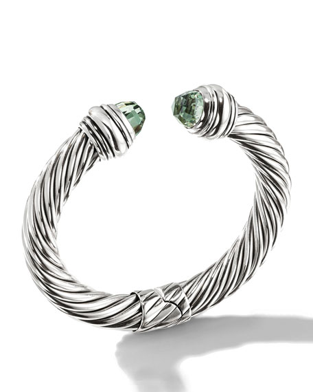 Cable Classics Silver Kick Cuff Bracelet in Prasiolite