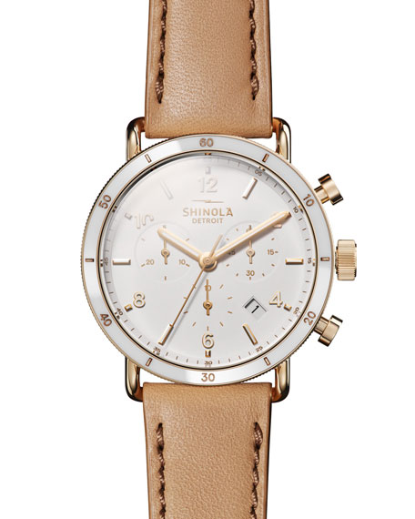 Canfield Sport 40mm 3-Eye Chronograph Watch with Camel Leather Strap