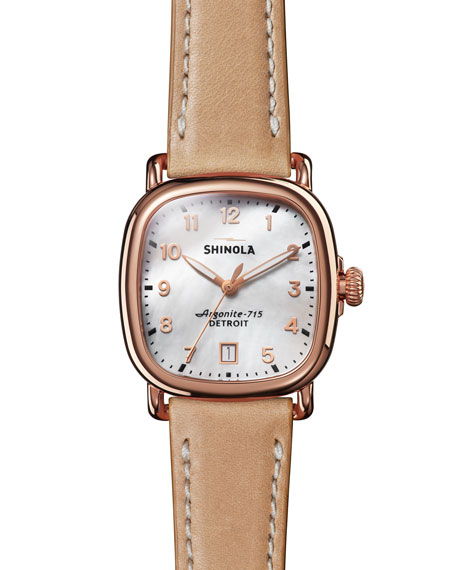 Shinola 36mm The Guardian Rose Golden Date Watch