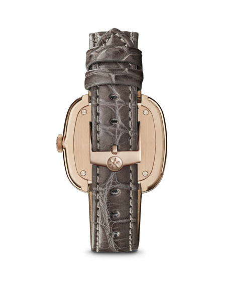 32mm Eppie Diamond Watch w/ Gray Alligator Strap