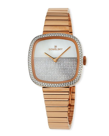 Gomelsky 32mm Eppie Diamond Bracelet Watch, Rose Golden