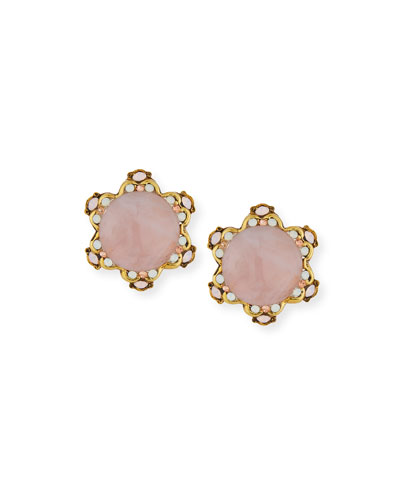 Rose Quartz Button Clip-On Earrings