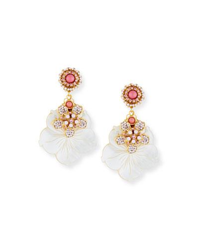 Mother-of-Pearl & Opal Flower Drop Earrings