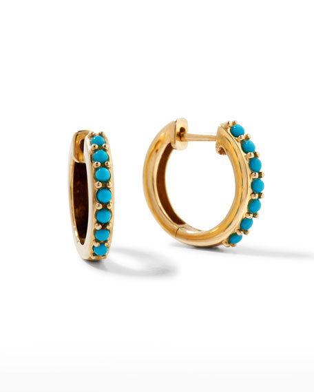 14k Small Prong Turquoise Huggie Hoop Earrings