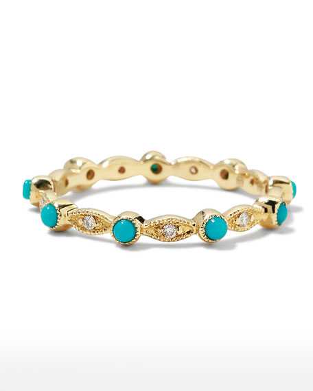 14k Turquoise & Diamond Eternity Band Ring