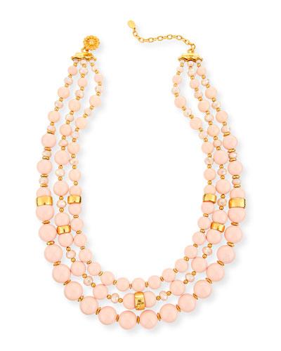 Three-Strand Blush Glass Necklace