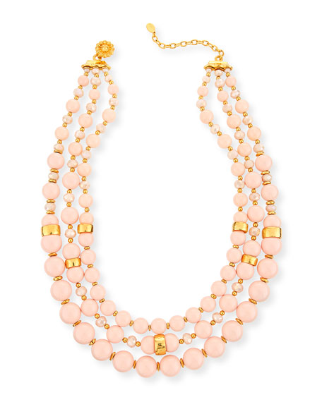Jose & Maria Barrera Three-Strand Blush Glass Necklace