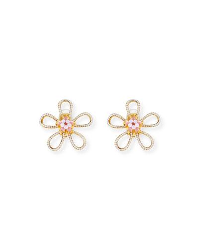 Open Flower Clip-On Earrings with Pink Opal