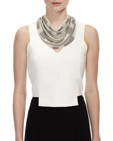 Kinsey Beaded Scarf Necklace, Gray