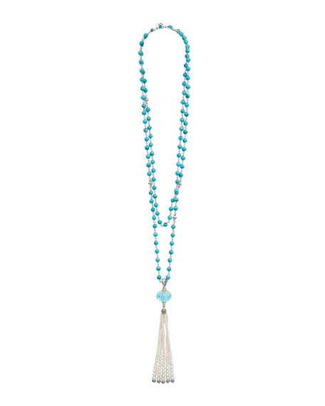 "18k Caviar Forever Beaded Pearl Tassel Necklace, 36"""