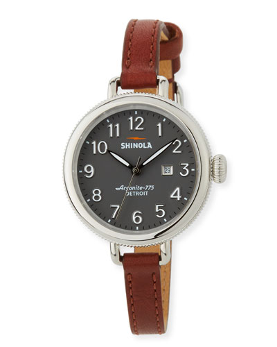 34mm The Birdy 3-Hand Date Watch with Cognac Leather Strap