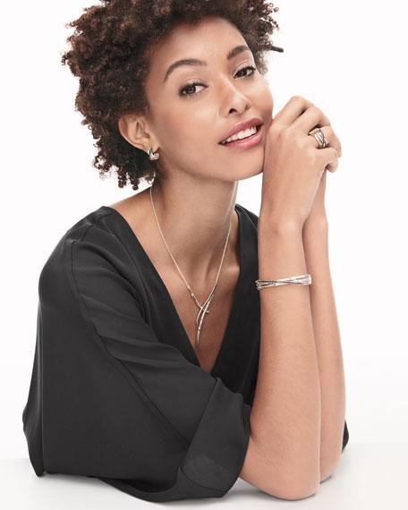 Bamboo Silver Small Flex Cuff Bracelet w/ Black Pavé