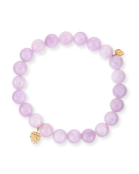 Sydney Evan Round Kunzite Beaded Bracelet with Diamond Butterfly Charm A3Bpl0E