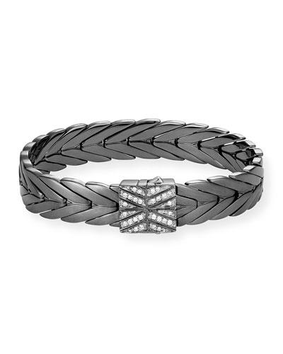 Modern Chain Medium Bracelet with Diamond Pave Clasp, Size M