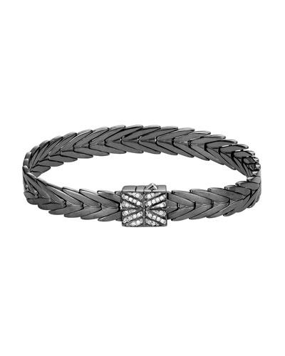 Modern Chain Silver 8mm Rectangular Bracelet with Diamond Clasp