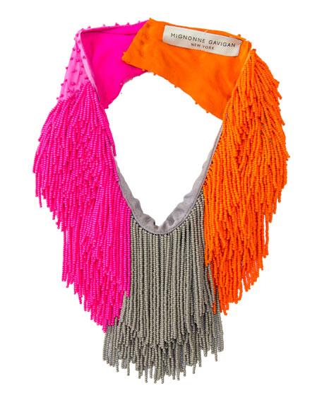 MIGNONNE GAVIGAN Le Marcel Colorblock Scarf Necklace in Hot Pink